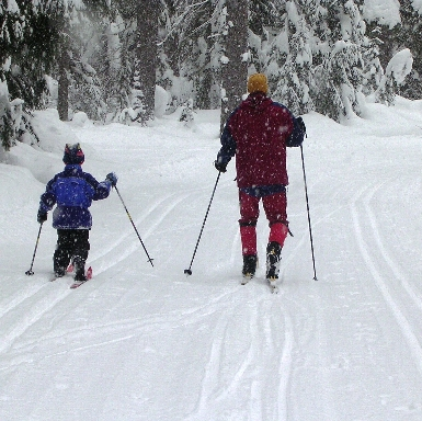 Dad & Kid XC Skiing